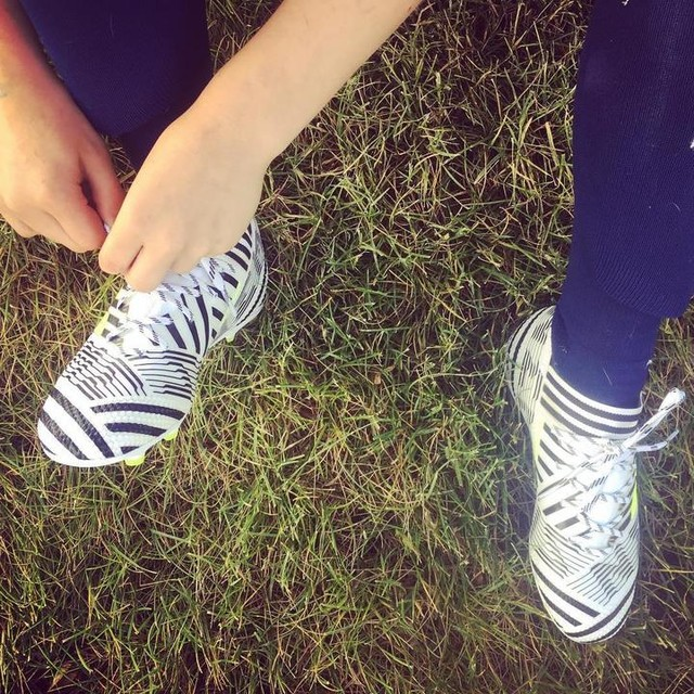 "New kicks. I tell her, ""We didn't have boots this cool back in my day."" She says, ""So we're they just boring then?"" #nemeziz #🔥 #adidas #soccergirl #newboots #cleats #soccer #futbol #playsoccer #femaleathlete #runlikeagirl #adidasfootball"
