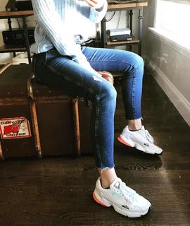 f8435757e  adidas. Falcon Shoes Crystal White   Crystal White   Easy Orange B37845.  Falcon Shoes Crystal White   Crystal White ...