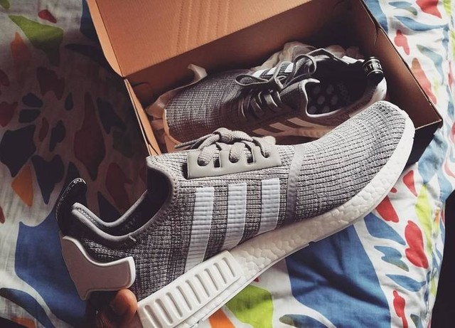 Finally got these babes!! #adidas #adidasoriginals #nmdr1 #greyandwhite #shoes #3stripestyle