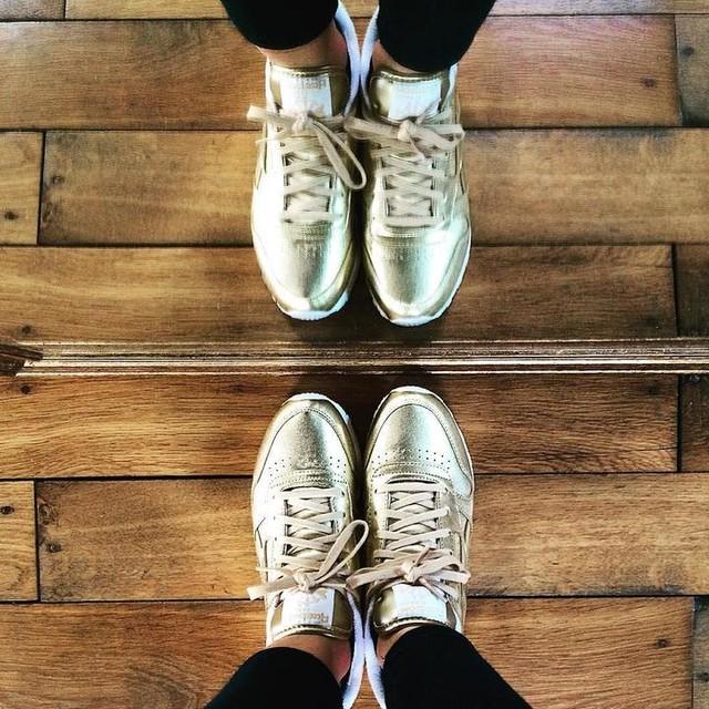 New shoes 🤘🏼 #reebok #classic #leather #spirit #facestockholm #gold #angers #jacksonuniversal