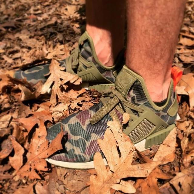 Duck camo fulfilling their purpose in the untamed wilderness of Brooklyn #nmd #adidas #adidasoriginals #duckcamo #boostvibes #sneakerheaddoc #sneakerhead #prospectpark #brooklyn #ivegotaproblem