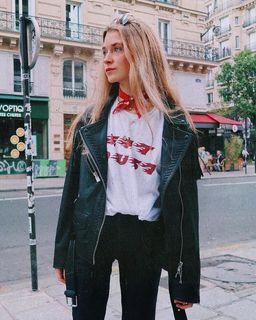 Olivia. - Trevett Oversized Biker Jacket