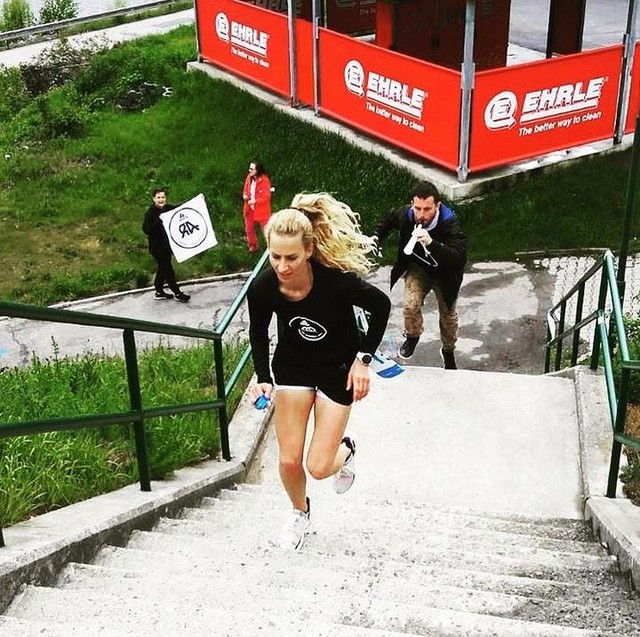 • THE ONLY TIME YOU SHOULD EVER  LOOK BACK,  IS TO SEE HOW FAR  YOU'VE COME. • • • #adidasrunnersprague #adidasrunning #run #stairs #race #racing #push #teamwork