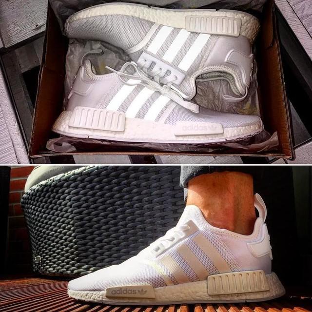 Hallo meine Freunde 😍👟🔥🔥 #shoes #adidas #nmd #r1 #3stripesstyle #thebrandwiththethreestripes #whiteshoes #malsehenwielangenoch #sommerkannkommen #instashoes #volutionsports 👌🏻