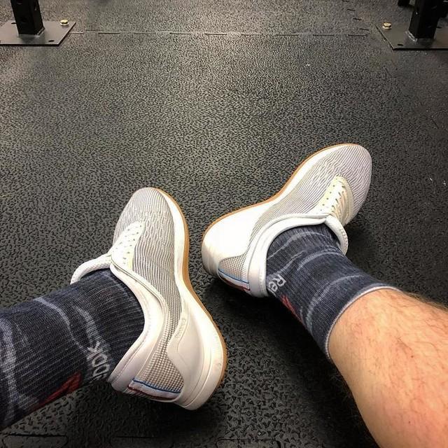I caved 🤷🏼♂️ #aPresentForMe #Reebok #ReebokNano #ReebokNano8 #Nano #Nano8 #WhatsRichDoing #WontStayWhiteForLong #WhiteGumTrainer #Crossfit #Shoes #Trainers  #ShoePorn #Sneakers #FitFam #Sneakers #CrossfitGear #WOD #WorkoutOfTheDay #NewSneaks #Gym #GymLife #GymStyle #WorseThingsToBeAddictedTo