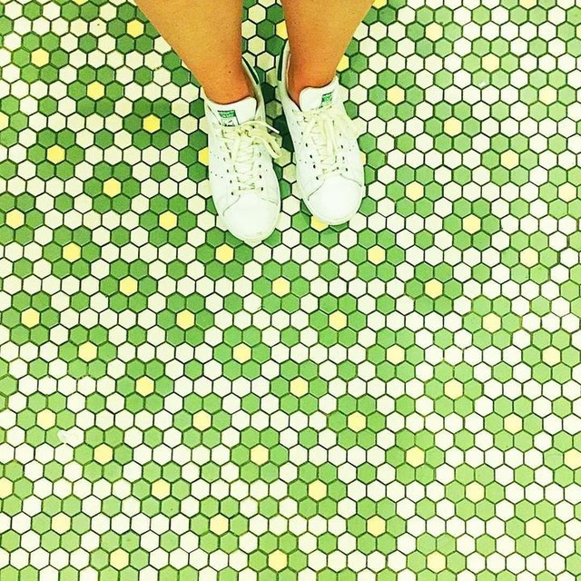 SEEING GREEN. It's Friday and these tiles match my Stan Smiths. ..it's the little things😂💚 . . #offyougopaperco #stansmith #adidas #disneyland #ihavethisthingwithtiles #colorpop #visualsgang #picoftheday #abm #thehappynow #happiness #nyc #ottawa #wandeleurspark #shoefie #lifestyle #lifestyleblogger #greetingcards ##stationery #wanderlust #justadayatthepark #california #la